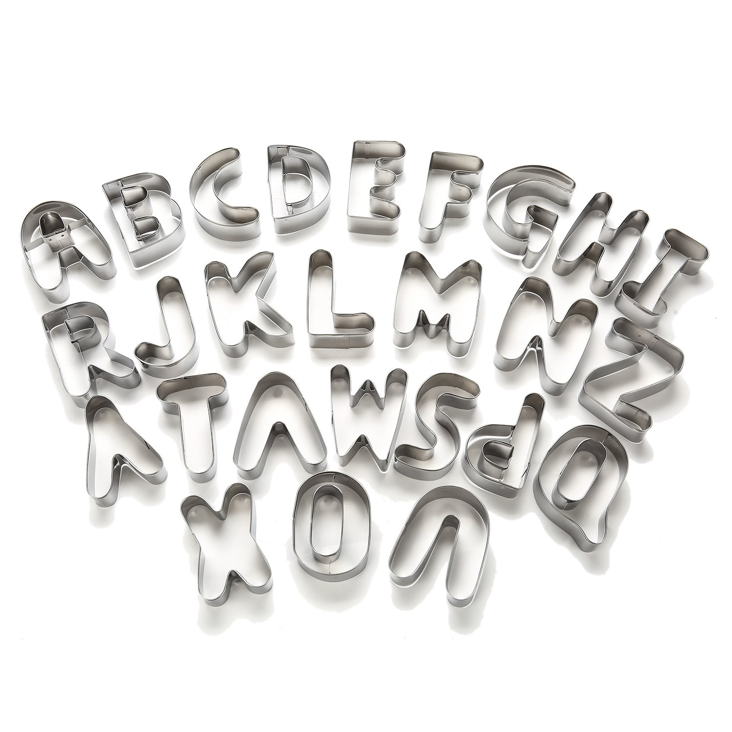 3'' Large Alphabet Letter Cookie Cutters Set Biscuit Snowman Pumpkin Moon Ghosts Variety Of Graphics Cookie Cutter Shape Mold Set Jelly Fondant Sugar Stamp Impress Embosser (Large Letter A-Z) by FUBARBAR FUNNY PLACE TO STAY (Image #3)