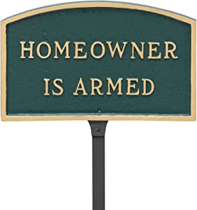 """Montague Metal Products 5.5"""" x 9"""" Arch Homeowner is Armed Statement Plaque with 23"""" Lawn Stake, Green/Gold"""