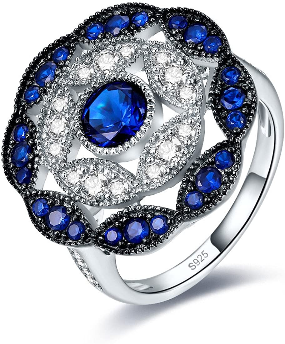 jrose 925 Sterling Silver Vintage Created Blue Sapphire Cluster Cocktail Ring for Women
