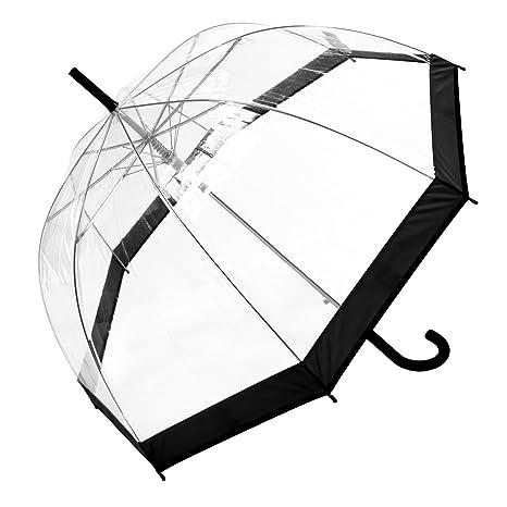 Paraguas de cúpula de transparente con ribete de color Transparente 3466A BLACK