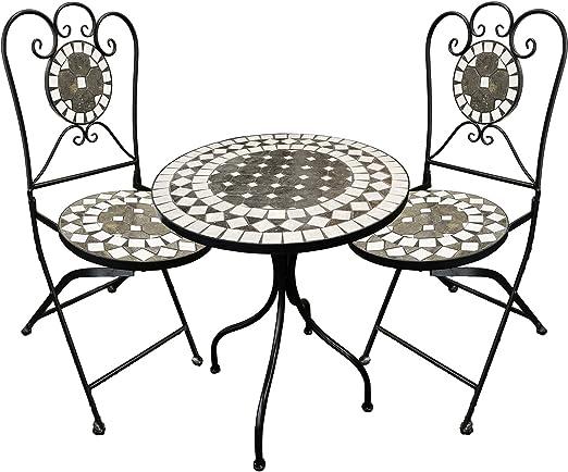 FineHome Aktion! Juego de 3 Piezas de Mosaico Decorativo, Mesa y 2 sillas de Mosaico para salón, jardín de Invierno y terraza, Interior y Exterior: Amazon.es: Jardín