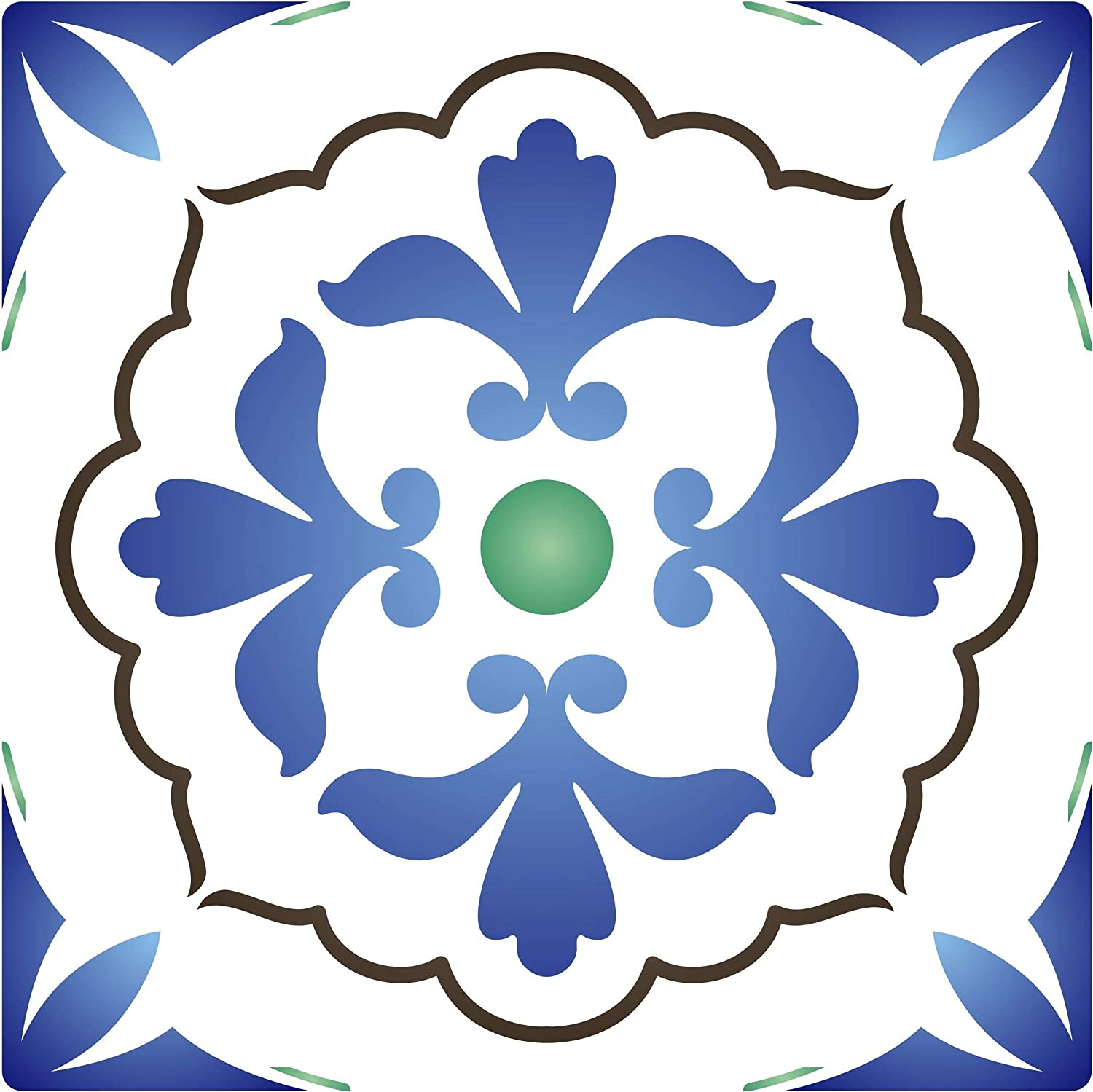 Italian Tile Stencil, 6 x 6 inch (S) - Talavera Mexican Moroccan Turkish Tile Stencils for Painting Template