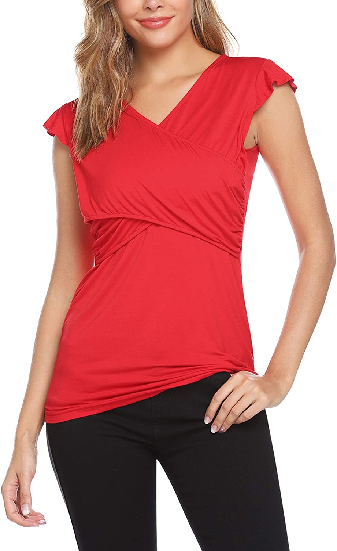 Aibrou Breastfeeding Shirt Womens Summer Short Sleeve Striped Double Layer Nursing Tops T-Shirt S-X