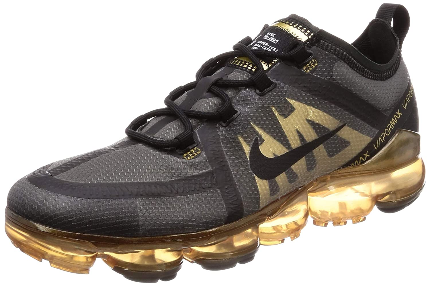 arrives lowest discount on feet at Nike Men's Air Vapormax 2019 Black/Black/Metallic Gold Mesh Running Shoes  13 M US