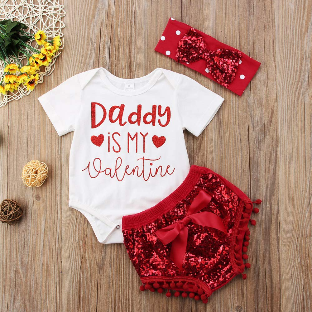 Baby Girl Romper Onesie Set Outfits Letter Printed Top Bodysuit with Sequin Bow Skirt Tutu Party Dress