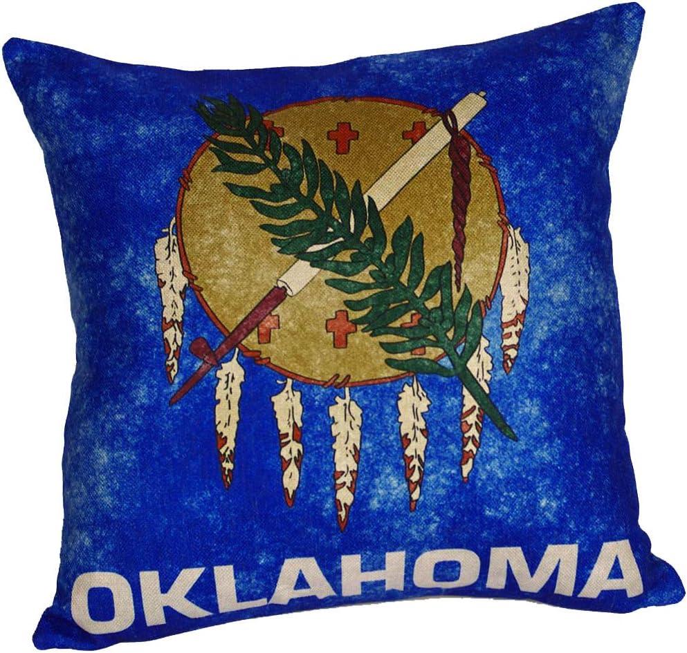 Amazon Com Decopow Retro Style Us State Flag Pillow Cover State Flag Throw Pillow Covers By Oklahoma Home Kitchen