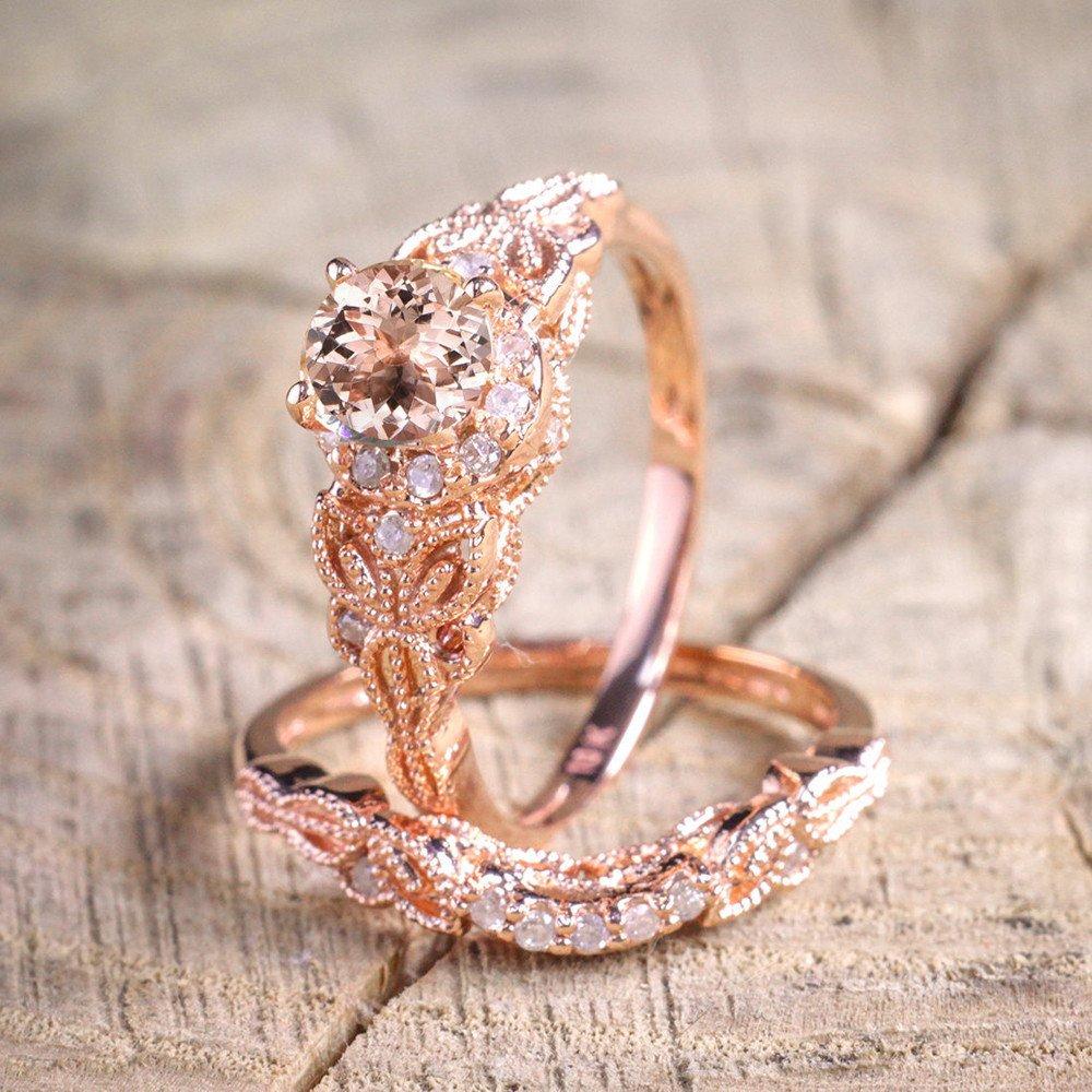 Amazon.com: Beclgo Anillo de compromiso, oro rosa, exquisito ...