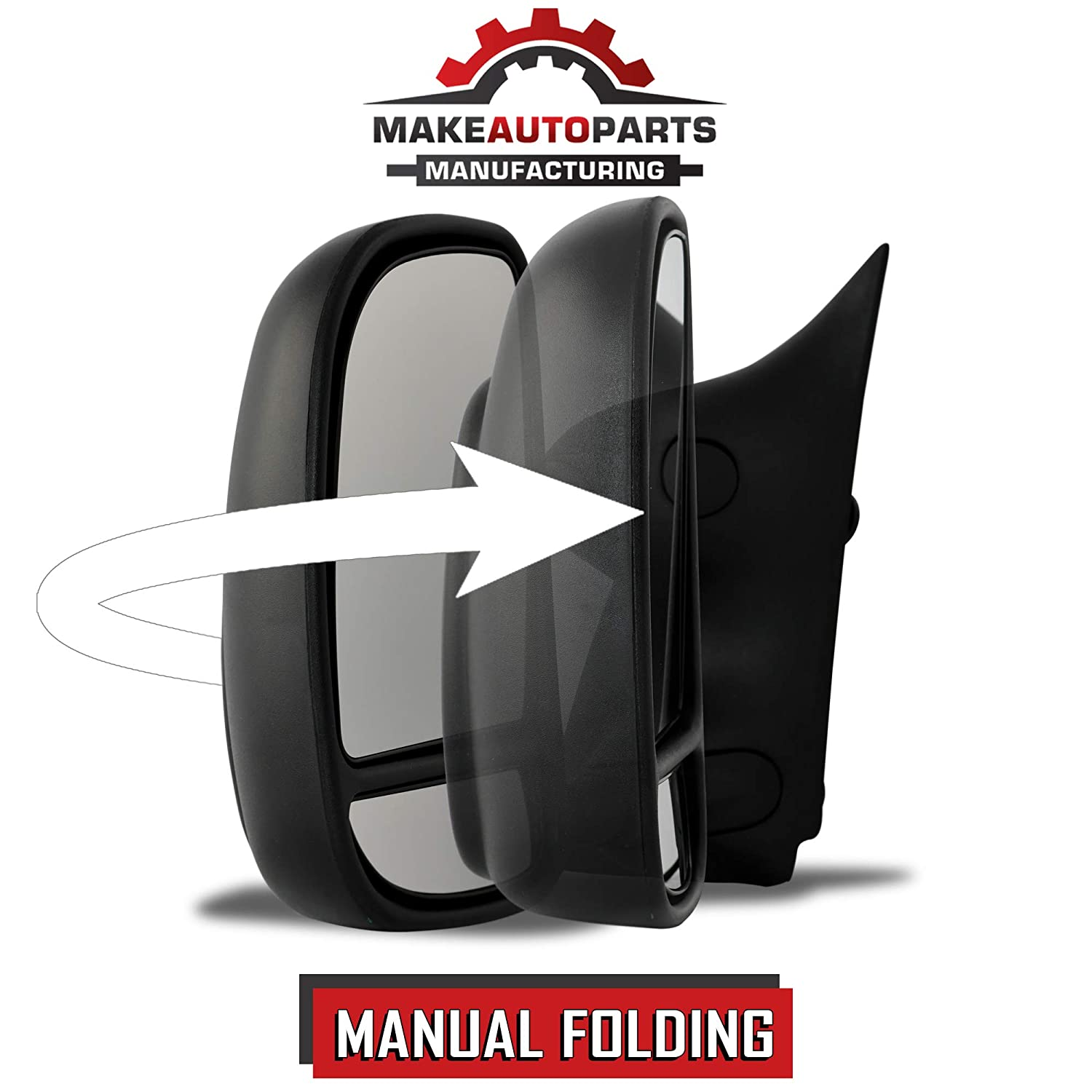 FO1320226 F550 1999-2007 F350 Make Auto Parts Manufacturing Driver Side Manual Operated /& Folding Telescopic Type Dual Glass Towing Mirror For Ford Super Duty F250 F450