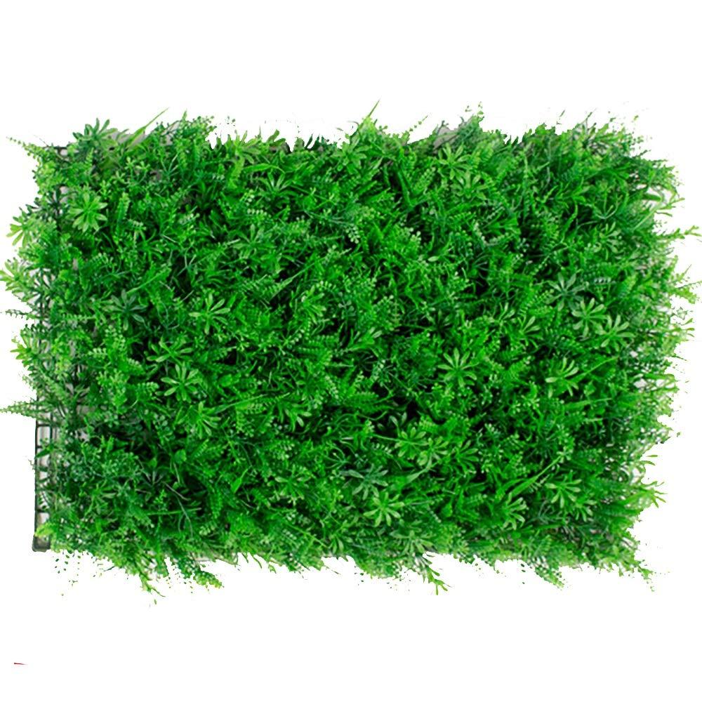 GAIGAI 16 * 24 ''人工芝壁、プラスチックプライバシーフェンススクリーンシダ葉草ヘッジパネルマット屋内屋外トピアリー装飾偽植物壁、誕生日の背景、装飾、20個 B07S6K5LKH