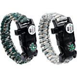 Survival Paracord Bracelet Gear Men Women Outdoor Emergency Multifunctional Survival Paracord with LED Light Compass Whistle Fire Starter Kits for Camping Hiking, Paracord Survival Bracelet 2 Packs