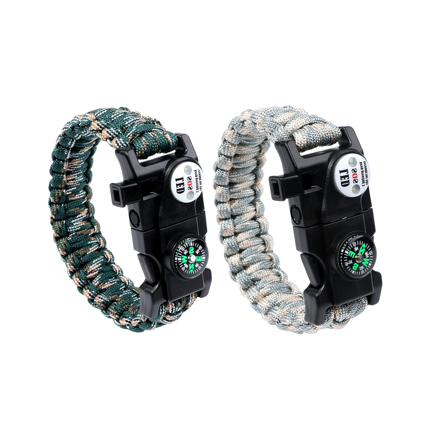 Tongshop 2 Pack Survival Bracelet Outdoors Survival Gear Kit with LED SOS Signal Compass Fire Starter and Whistle Emergency Survival Paracord Bracelet Kits