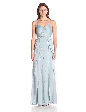 Adrianna Papell Women's Spaghetti Strap Chiffon Long Gown With Ruffle Skirt, Slate, 4