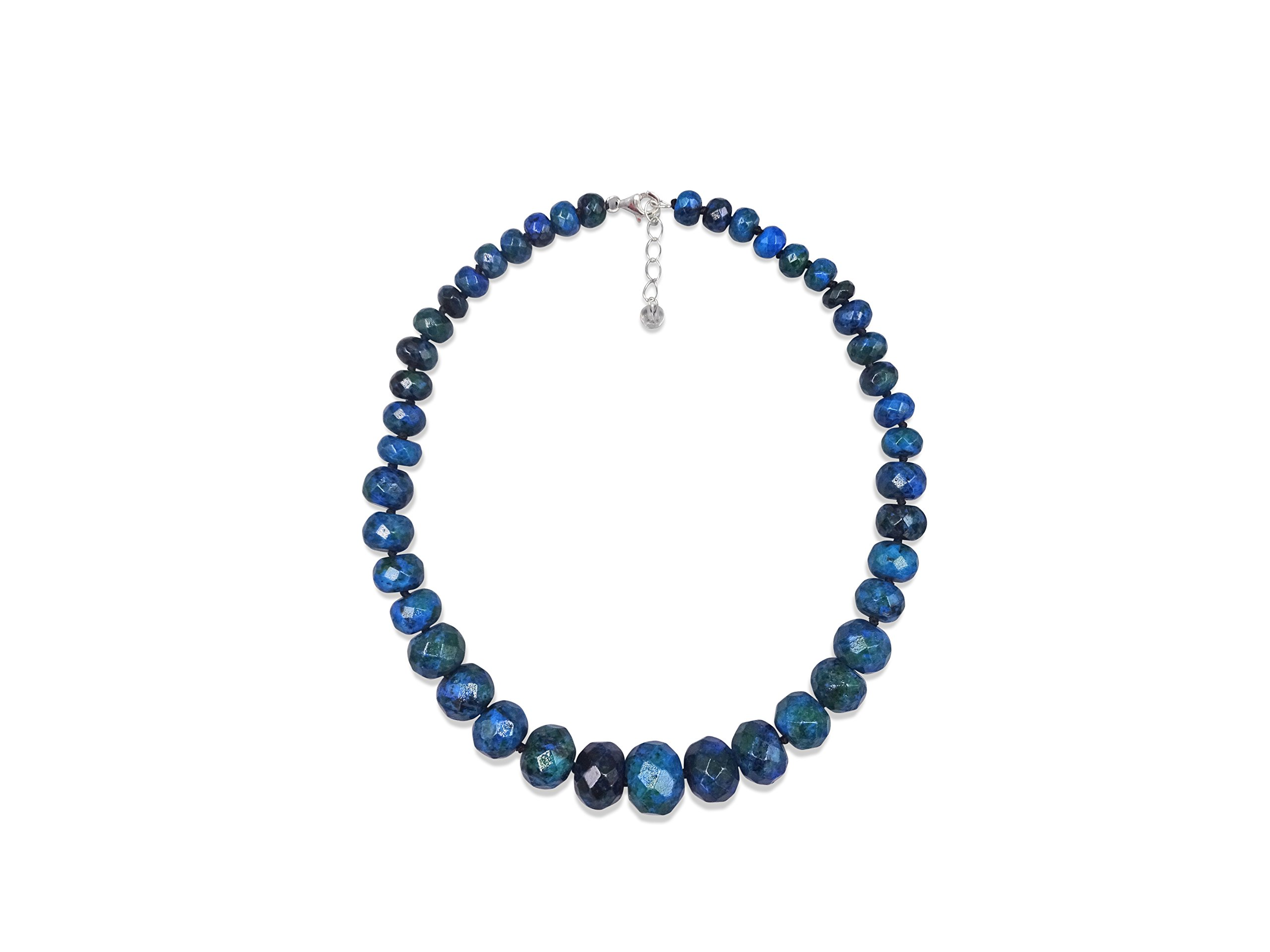 MGR Graduated Azurite Hand Beaded Rondelle Stone Statement Necklace.