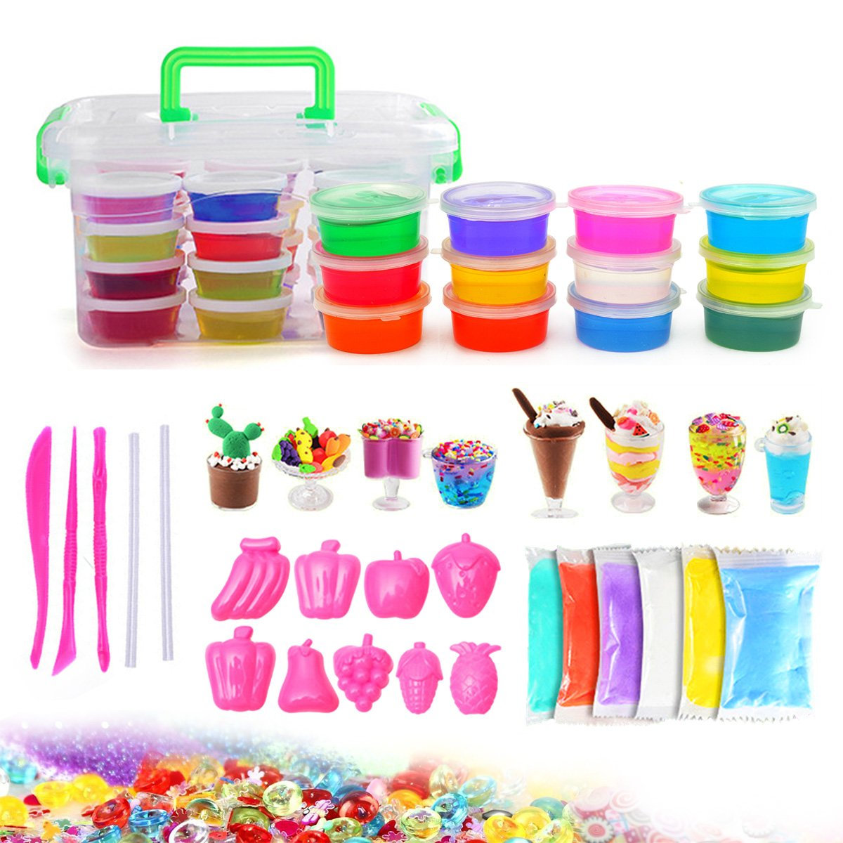 DIY Fluffy Slime Kit - 46 Pack Clear Slime Making Kit Supplies for Kids, Comes with Ultimate Clear Slime, Modeling Dry Clay, Fruit Mold, Glitter Jars, Foam Balls, Mixed Decoration for Kids Aged 6+