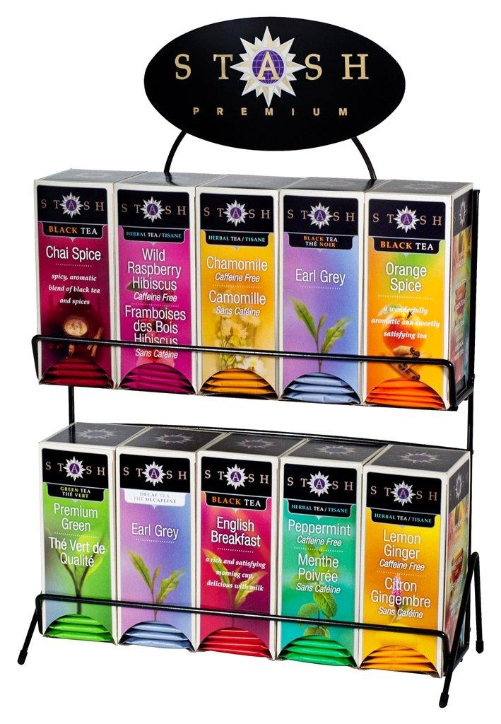 Stash Tea 10 Flavor Teas 30 Count Tea Bags in Foil with Display Rack Individual Tea Bag Variety Pack, Use in Teapots Mugs or Cups, Brew Hot Tea or Iced Tea