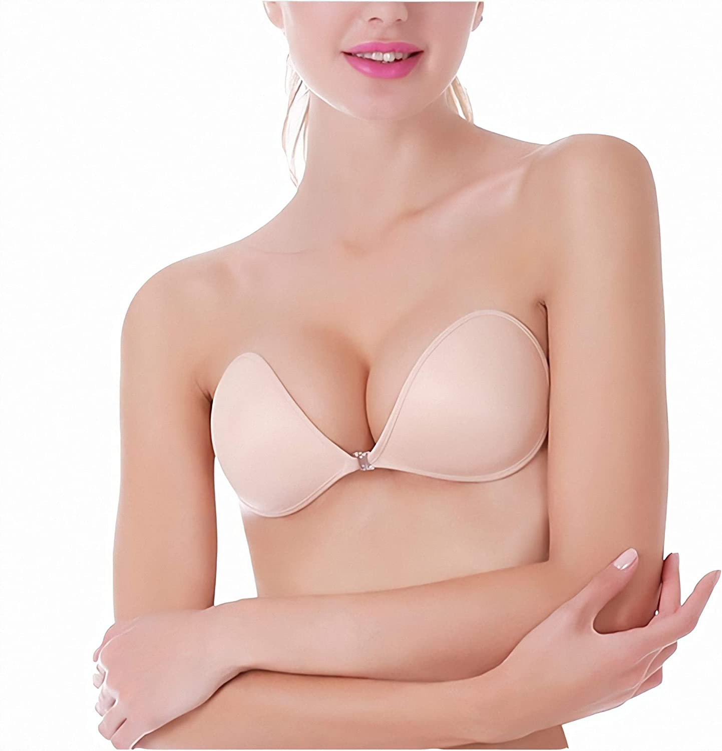 MITALOO Push up Strapless Self Adhesive Plunge Bra Invisible Backless Sticky Bras
