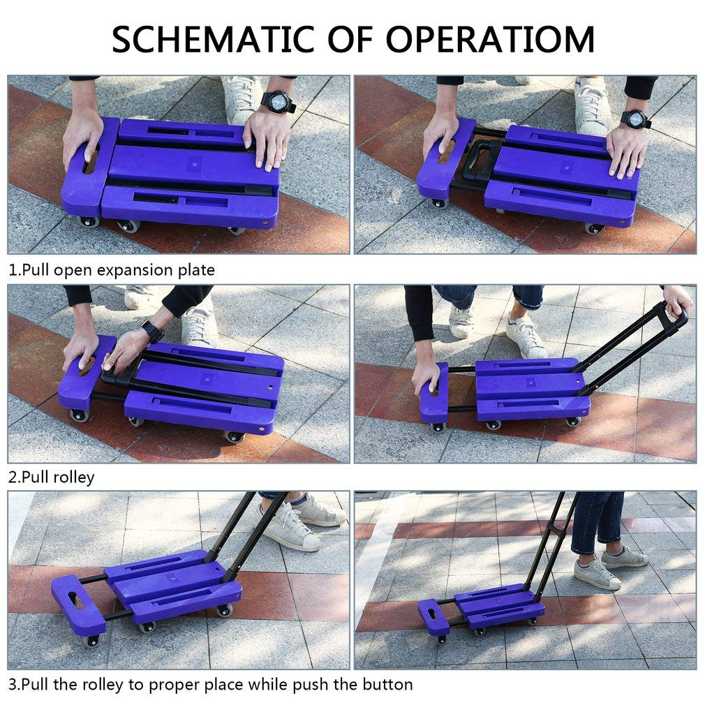 Graspwind Hand Truck Folding Luggage Cart 3-fold Handle 360°Rotate 6 Wheels and Free Rope Travel Trolley 440lbs (Blue) by Graspwind (Image #3)