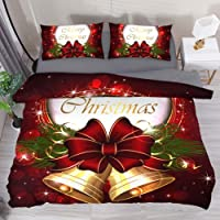 Mapotofux Duvet Cover Set 3 Piece Comforter Cover Christmas Bells, Bow and Snowflakes Breathable Microfiber Quilt Cover…
