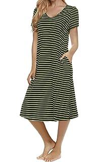 94ff3c7d1293 Women s Casual Striped Loose Criss Cross Short Sleeve T-Shirt Midi Dress  with Pocket