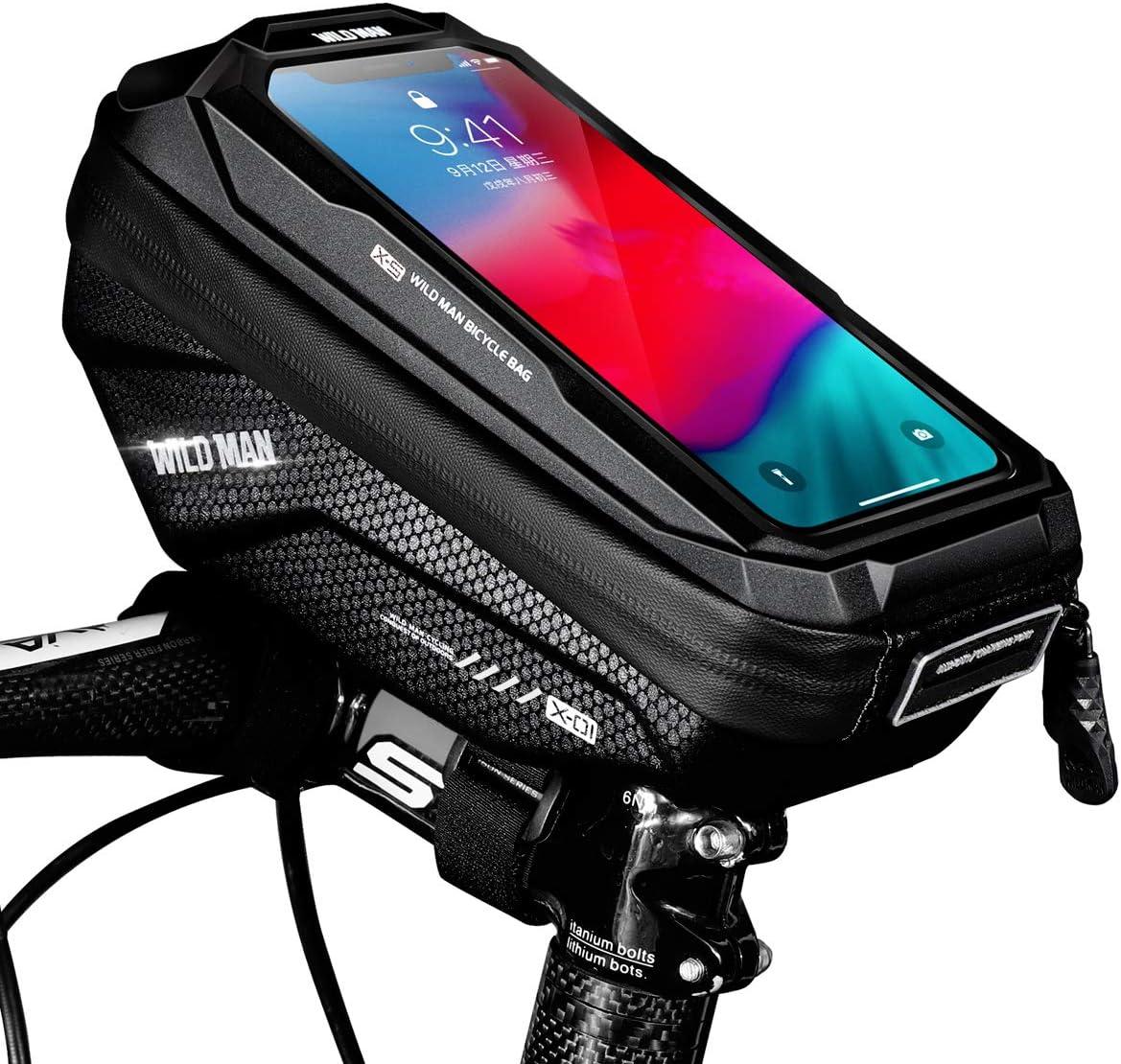 Faneam Bolsa Bicicleta Movil Impermeable Bolsa Bici Cuadro Manillar con Pantalla Táctil, Gran Capacidad Bolsas de Bicicleta Soporte Telefono Móvil para iPhone Samsung de hasta 6,5 Pulgadas
