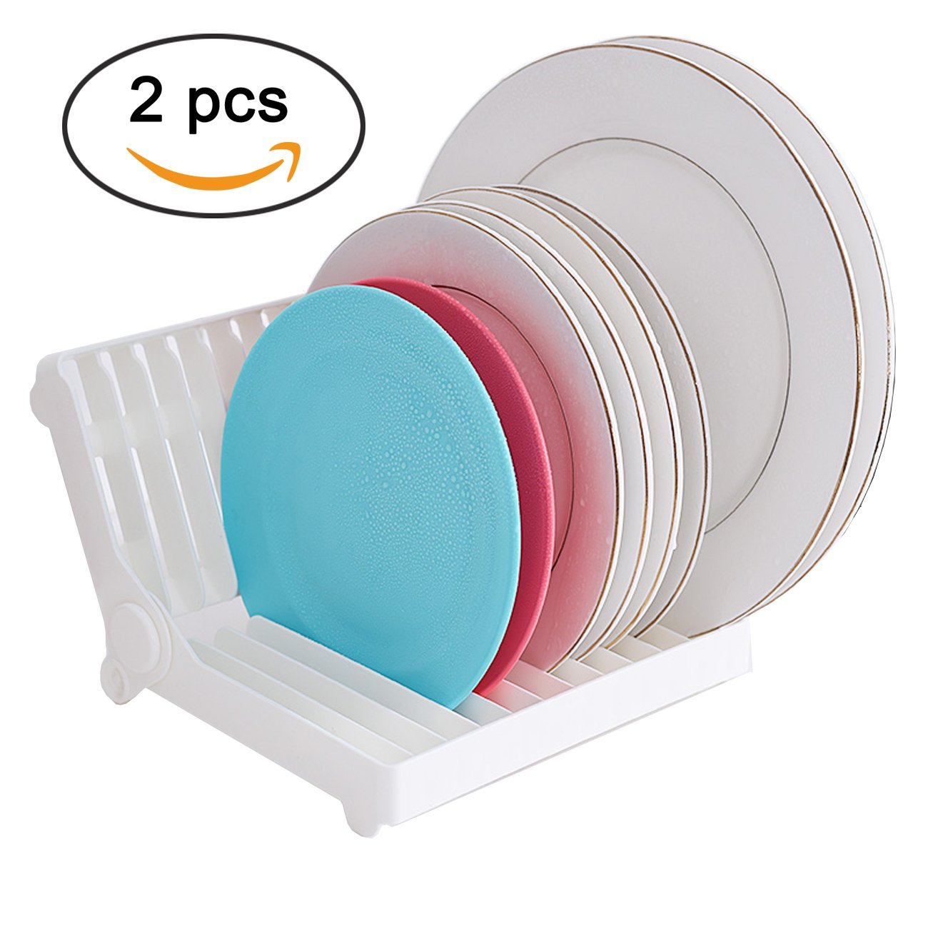 Ogrmar Plastic Foldable Space Saving Dish Drainer Rack for Kitchen Sink/ Compact Modern Fold Away Dish Dryer Rack Pack of 2 (White)
