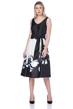 9595f1b3f8f Roman Originals Femme Robe Patineuse avec Noeud Floral - Cérémonie Mariage  Simple Elegante Classe Robes -