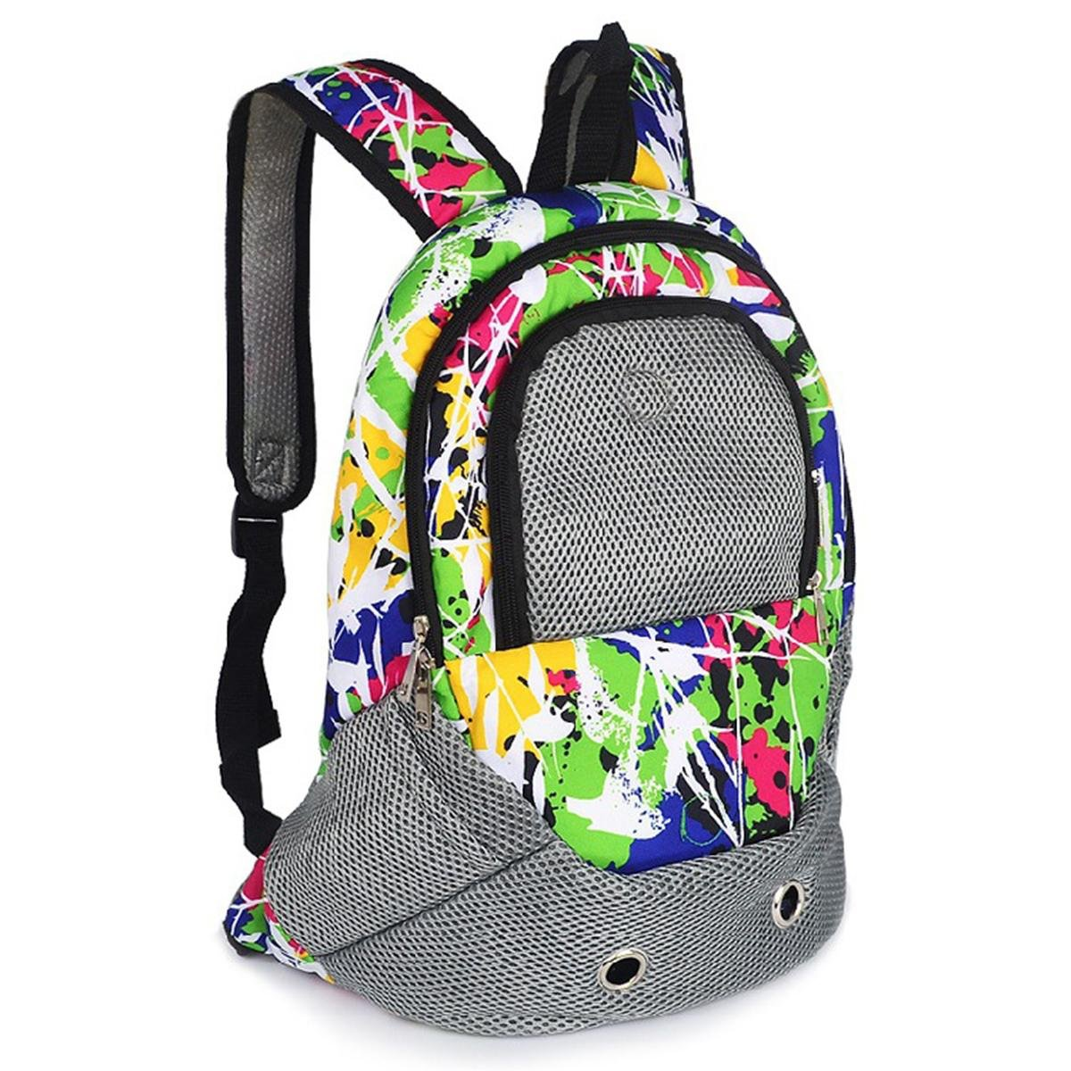 color SHKY Pet Dog Cat Puppy Carrier Backpack Bag Portable Airline Travel Approved Carrier Breathable Mesh Adjustable Front Bag Head Out Design Double Shoulder Padded