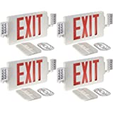 Gruenlich LED Combo Emergency EXIT Sign with 2 Adjustable Head Lights and Double Face, Back Up Batteries- US Standard Red Letter Emergency Exit Lighting, UL 924 Qualified, 120-277 Voltage (4-Pack)