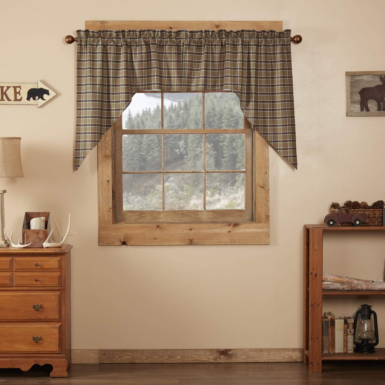VHCBS Rustic & Lodge Kitchen Window Curtains - Wyatt Tan Swag Pair, Set 36x36x16