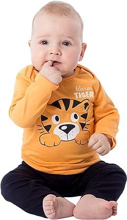 Pijama de dos piezas de algodón largo para bebé, pijama pequeño tigre