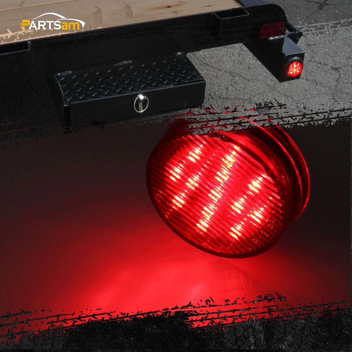 2.5 Round Led Trailer Lights 2.5 Round Led Marker Lights Air Breather Bar Lights Partsam 10Pcs 2.5 Inch Round Led and Side Marker Lights 13 Diodes w Reflectors Waterproof 5Amber+5Red