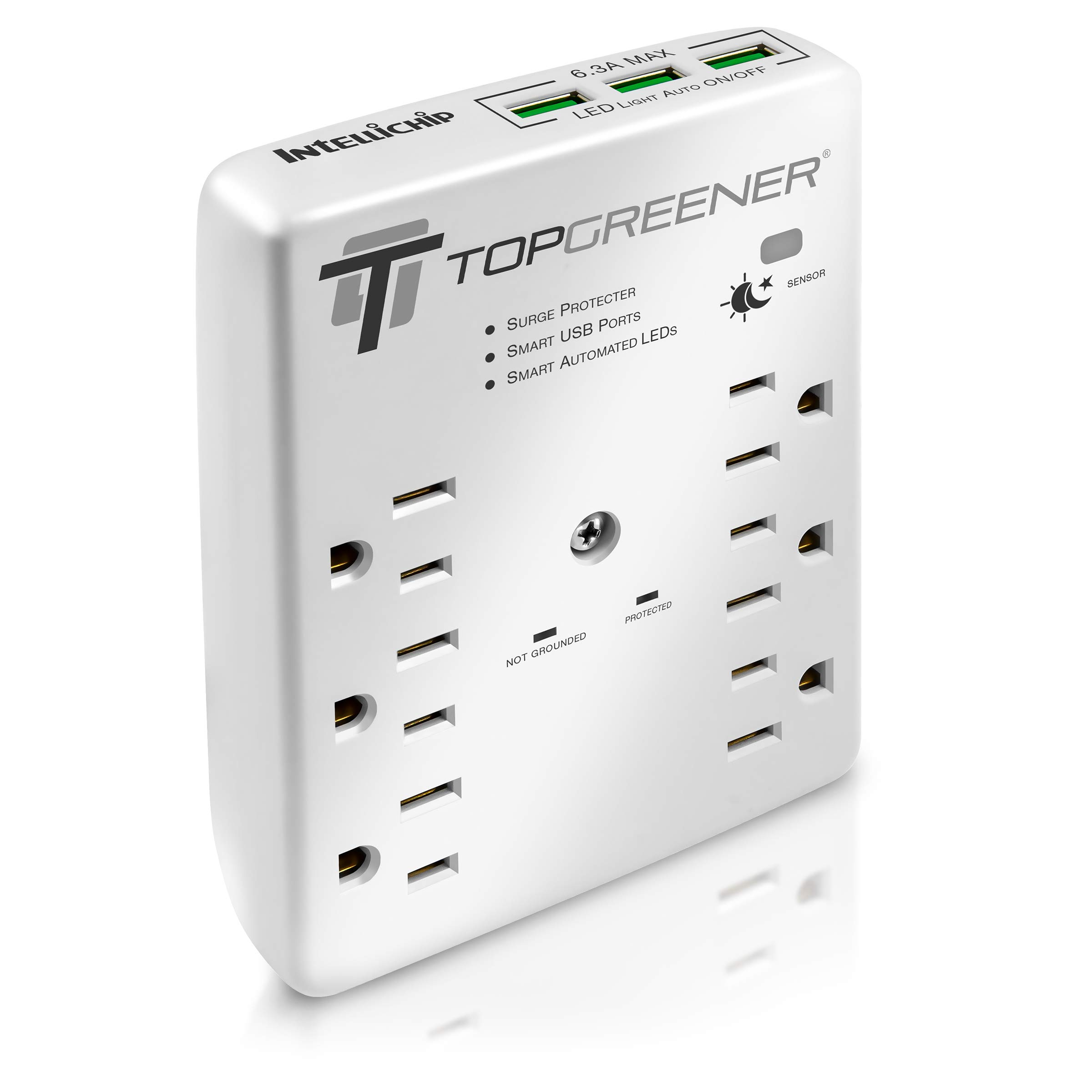TOPGREENER 6-Outlet Wall Mount Surge Protector Wall Tap, 900 Joules Surge Suppressor, 6.3A USB Ports, Auto Sensor LED Guide Light, 15A 125V Receptacles, TGSP615P68A3, White