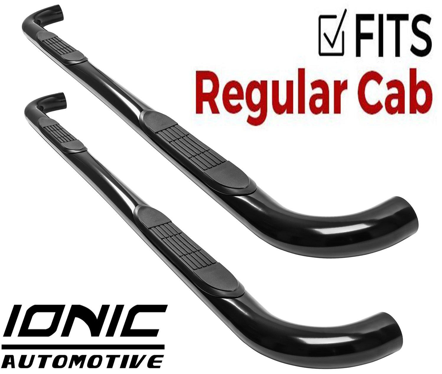 Fits 212470 1999-2016 Ford Super Duty F250 F350 Regular Cab Only Nerf Bars Side Steps Ionic 3 Black