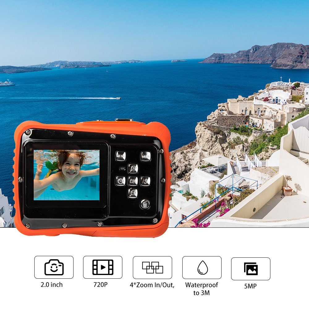 Digital Camera for Kids, Waterproof Sport Action Camera Camcorder Cam with 2.0'' LCD Screen,TOP-MAX Super HD Underwater Digital Video Camera Record Cam for Sports Swimming Diving and Beaching by TOP-MAX (Image #1)