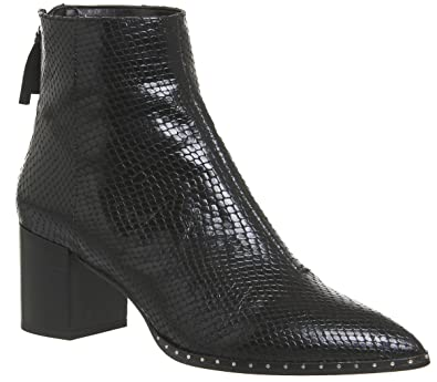 ff85ca7dc38 Office Aromatic Block Heel Boots Black Snake Leather Silver Hardware - 6 UK