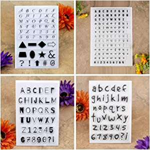 Kwan Crafts 4 Sheets Different Style English Alphabet Capital Lower Case Number Geometry Clear Stamps for Card Making Decoration and DIY Scrapbooking