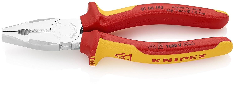 KNIPEX 01 06 190 Kombizange Chrom-Vanadin verchromt isoliert mit Mehrkomponenten-Hü llen, VDE-geprü ft 190 mm