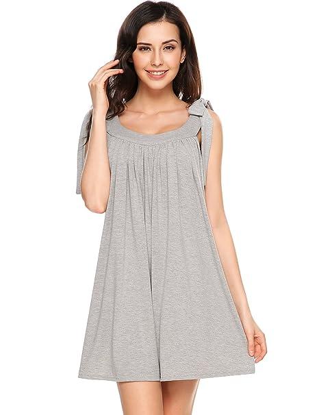 Beyove Swing T-Shirt Flowy Summer Beach Plus Size Dress (Grey, Large ...