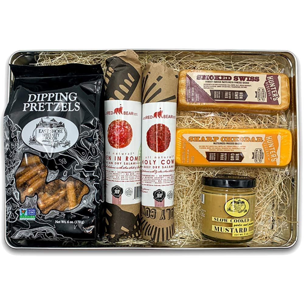 Carnivore Club Meat and Cheese Gift Tin - 6 Items Gift Set Including Meats, Cheese, Mustard, and Dipping Pretzels – Gourmet Food Basket Meat Sampler - Ultimate Gift for Meat Lovers