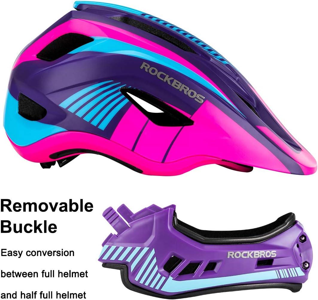 ROCK BROS Kids Bike Helmet Toddler Full Face Helmet Detachable Ultralight Mountain Bike Cycling Helmet for BMX Bicycle Skateboard Scooter Child Safety Helmet