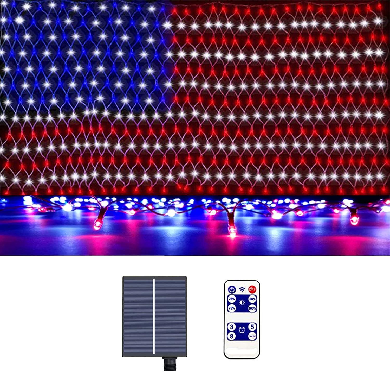 RICOVO LED American Flag Outdoor String Lights, Solar Power Rechargeabl Light Sensor USA Flag Light. (Solar Power).