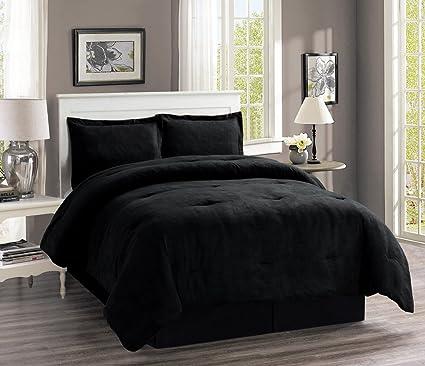 bd002c1e6 Amazon.com  4-Piece Oversize SOLID BLACK Micro Suede Comforter Set ...