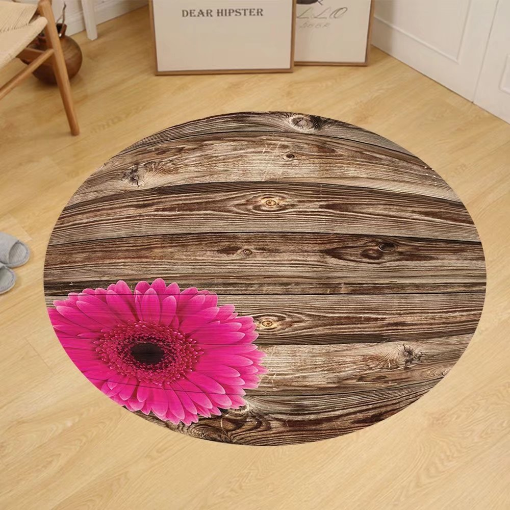 Gzhihine Custom round floor mat Rustic Home Decor Collection Pink Daisy Blossom on Vintage Wood Picture Gerbera Flower Farm Country Style Bedroom Living Room Dorm Brown Fuschia