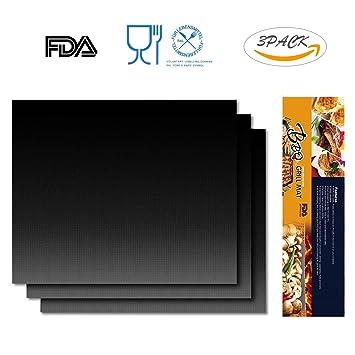 iRegro Esteras Parrilla de Barbacoa Almohadillas para parrilla Pad Reutilizable Teflon antiadherente para cocinar FDA y LFGB Aprobado Perfecto para parrilla ...