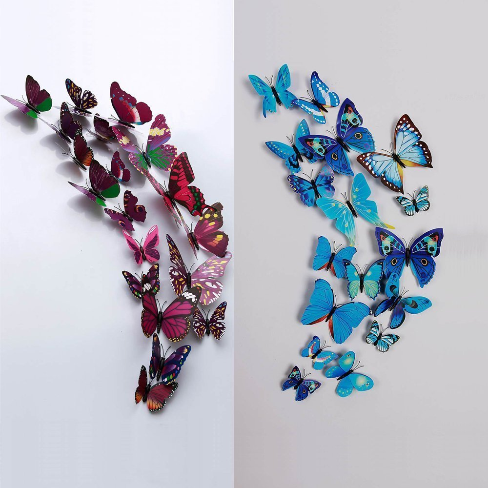 Amazon.com: 12 Pcs 3D Butterfly Wall Stickers Art Decor Decals (Purple):  Home U0026 Kitchen Part 34
