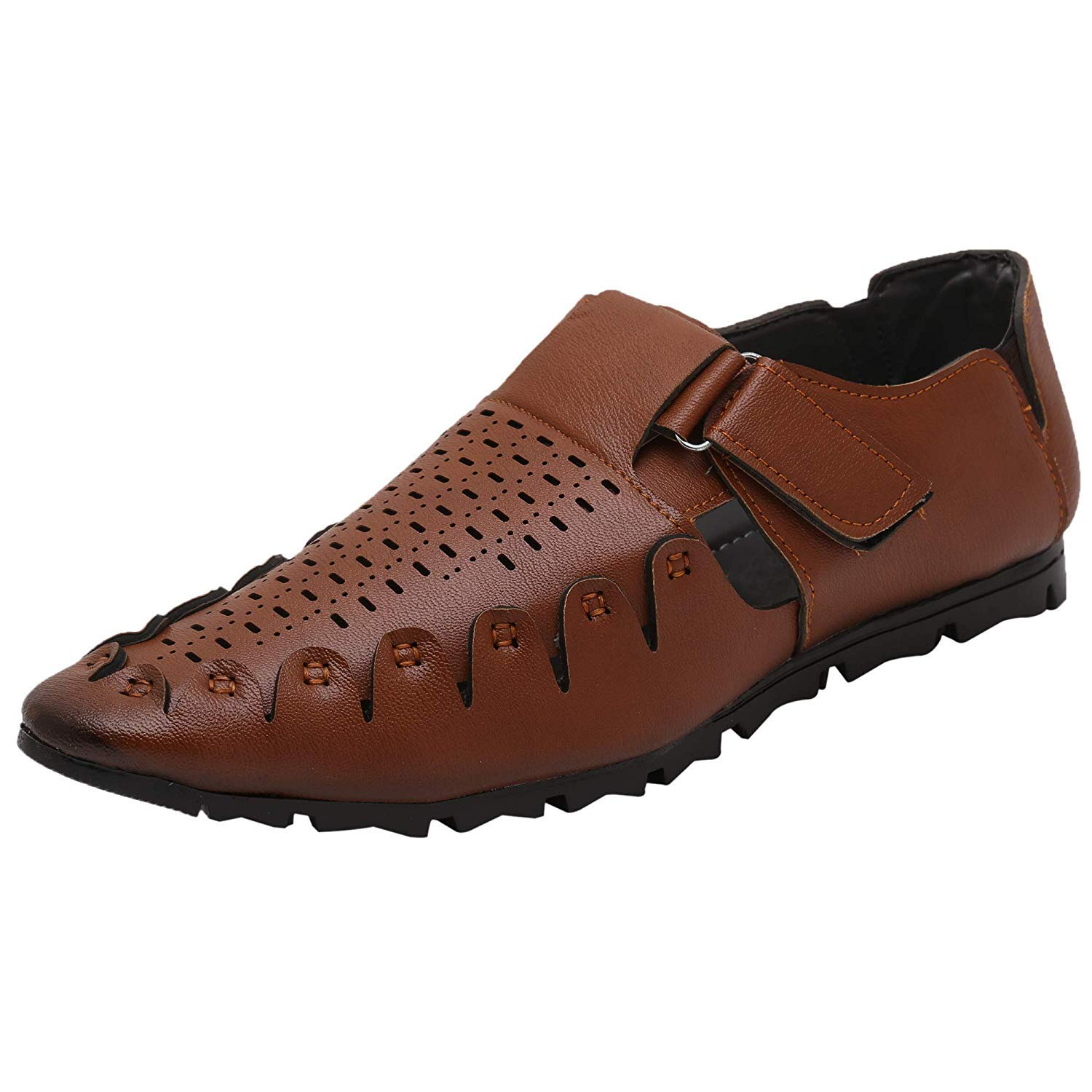 5e34c6949fd7df YB BAZAAR Men s Tan Dark Brown Black Colour Outdoor Formal Casual Ethnic  Loafer Slip-On Sandal  Buy Online at Low Prices in India - Amazon.in