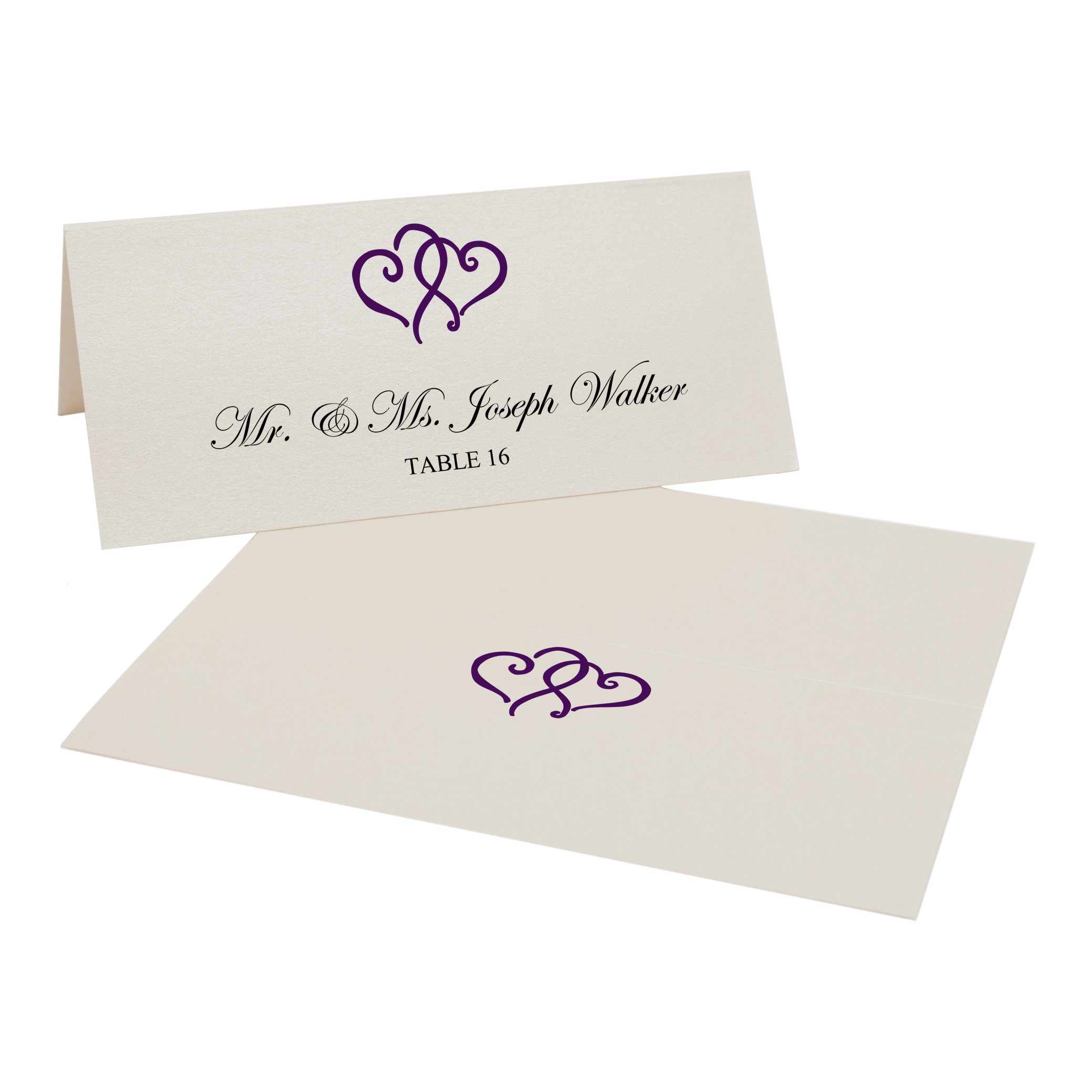 Linked Hearts Easy Print Place Cards, Champagne, Eggplant, Set of 425 (107 Sheets)