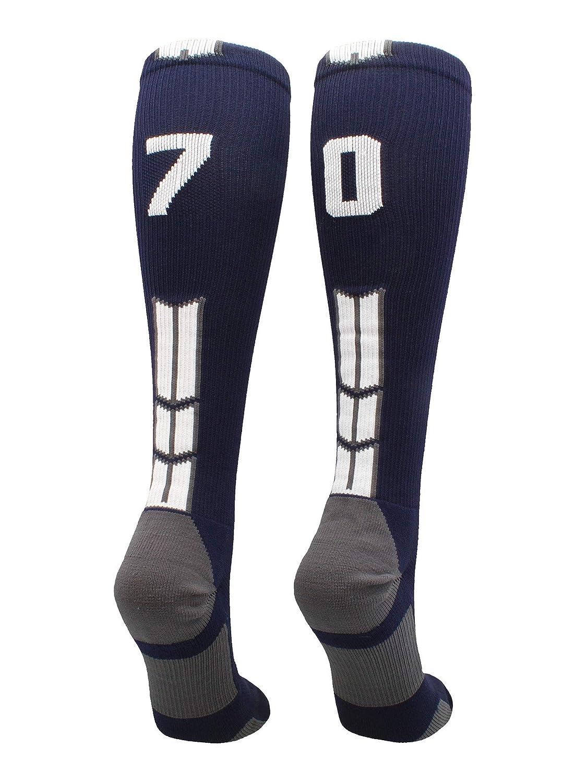 Pair MadSportsStuff Navy//White Player Id Custom Over The Calf Number Socks