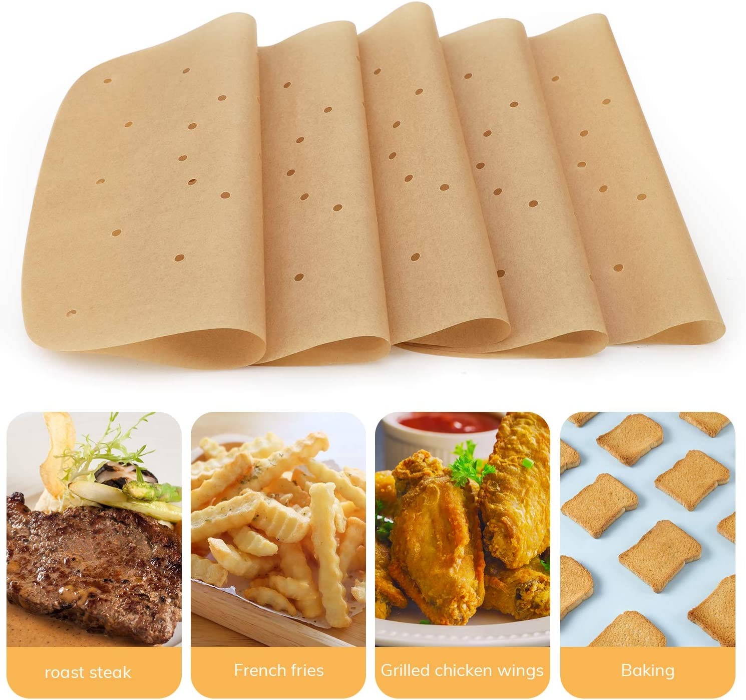 Beasea 300pcs Air Fryer Parchment Paper Unbleached Air Fryer Liners Square Perforated Parchment Paper Bamboo Steamer Papers for Air Fryer and Steaming Basket Air Fryer Filter Paper 8.5 Inch