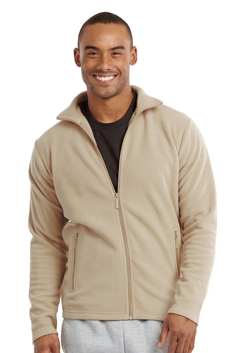Men's Polar Fleece Zip up Jacket (M, Beige) by Knocker